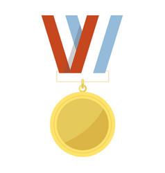 Empty golden medal hangs on striped ribbon vector