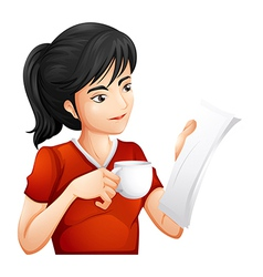 A woman holding a cup of tea while reading vector