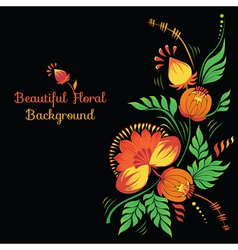 Floral Background with Petrikovka Ornament vector image