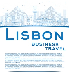 Outline lisbon city skyline with blue buildings vector