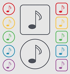 Music note sign icon musical symbol symbols on the vector