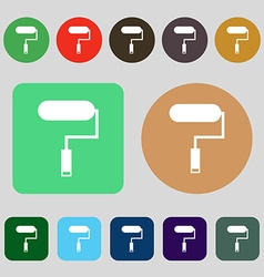 Paint roller sign icon painting tool symbol 12 vector
