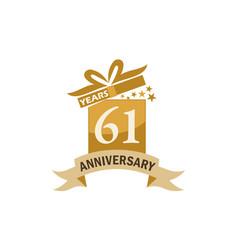 61 years gift box ribbon anniversary vector image