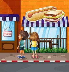 Boy and girl in front of restaurant vector