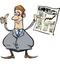 Satisfied businessman with newspaper vector