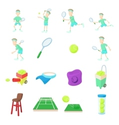 Tennis icons set cartoon style vector