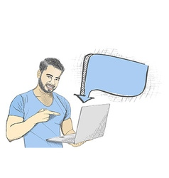 Young man pointing at laptop screen against white vector