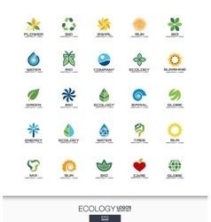 Abstract logo set for business company Ecology vector image