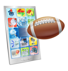american football ball mobile phone vector image