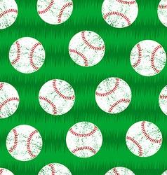 Baseballs on grass seamless pattern vector image