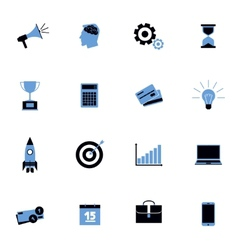 Black and blue business icons flat set vector image vector image