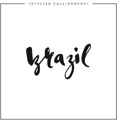 Brazil inscription calligraphy on a white vector