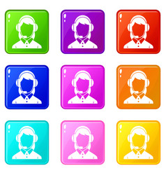 business woman with headset set 9 vector image