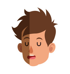 Cartoon head boy child close eyes shadow vector