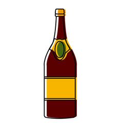 Champagne bottle icom vector