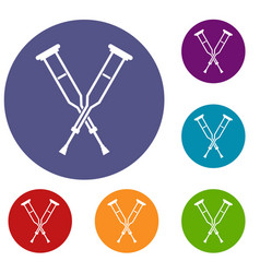 Crutches icons set vector
