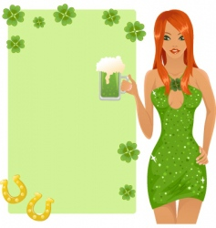 cute leprechaun girl vector image vector image