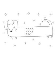 Cute sleeping dachshund antistress coloring book vector