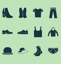 Dress icons set collection of briefs singlet vector