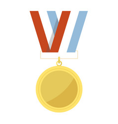 Empty golden medal hangs on striped ribbon vector