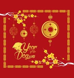 Happy chinese new year 2018 card gold coin year vector