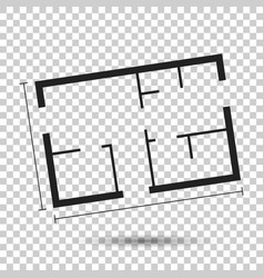House plan simple flat icon on isolated background vector