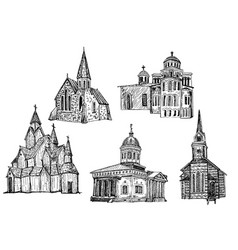 ink hand drawn church icon set vector image vector image