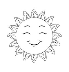 isolated happy sun face vector image vector image