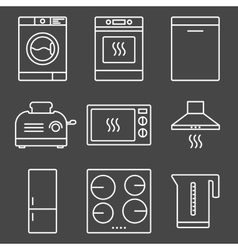 Kitchen appliance white icons vector image vector image