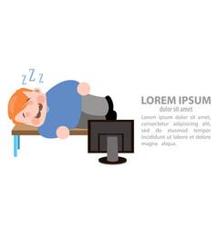 man sleeps in the workplase vector image