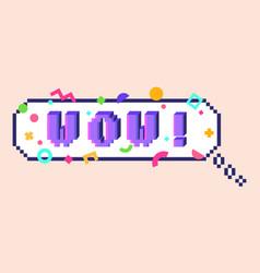pixel wow sticker vector image vector image