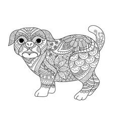 Pug coloring vector