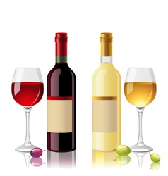 red and white wine vector image