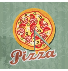 retro pizza background vector image vector image
