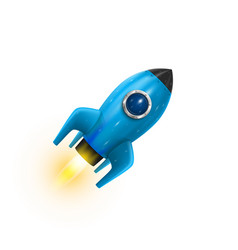 Rocket blue icon 3d realistic object white vector
