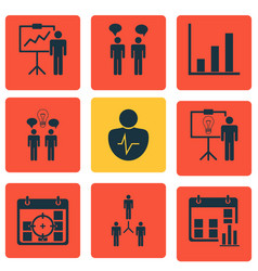 Set of 9 management icons includes solution vector