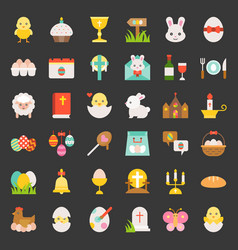 set of easter spring and egg hunt flat icon vector image vector image
