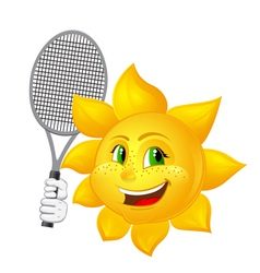 tennis player sun with racket vector image