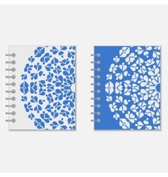 Two blue and white notebook covers design vector