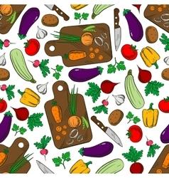 Vegetable salad ingredients seamless pattern vector