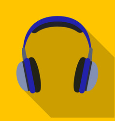 Vintage headphones icon in flat style isolated on vector