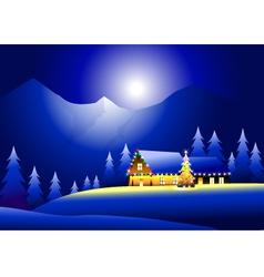 Winter landsacpe and happy christmas vector
