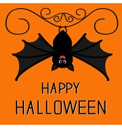 Happy halloween card cute hanging bat cartoon vector