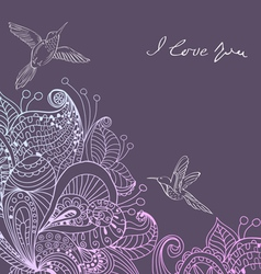 Valentines card with floral ornament and birds vector
