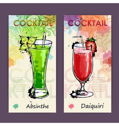 Artistic decorative cocktail menu vector