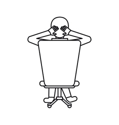Pictogram man sitting on back chair relaxing vector
