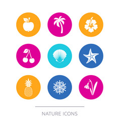 simple modern nature icons collection vector image