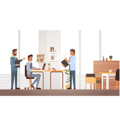 Business man group meeting discussing office desk vector