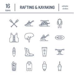 Rafting kayaking flat line icons vector