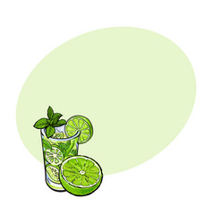 lime slice and glass of freshly squeezed juice vector image